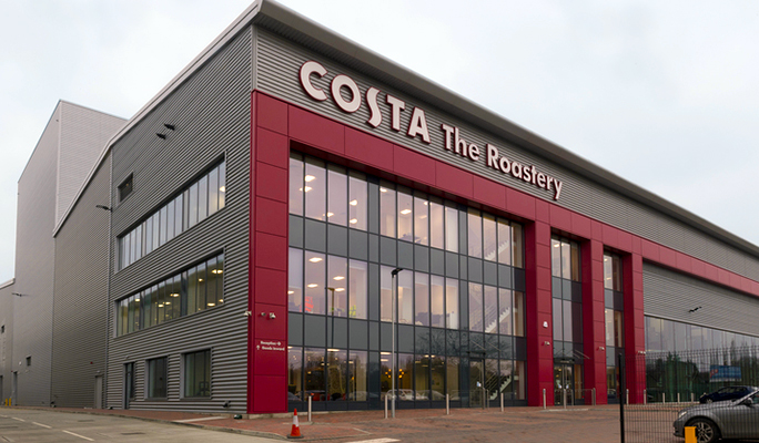 Exterior view of the Costa Coffee roastery in Basildon, Essex