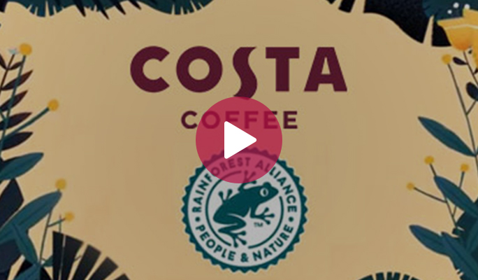 "Watch the Costa Coffee and Rainforest Alliance ""Follow the frog"" video"