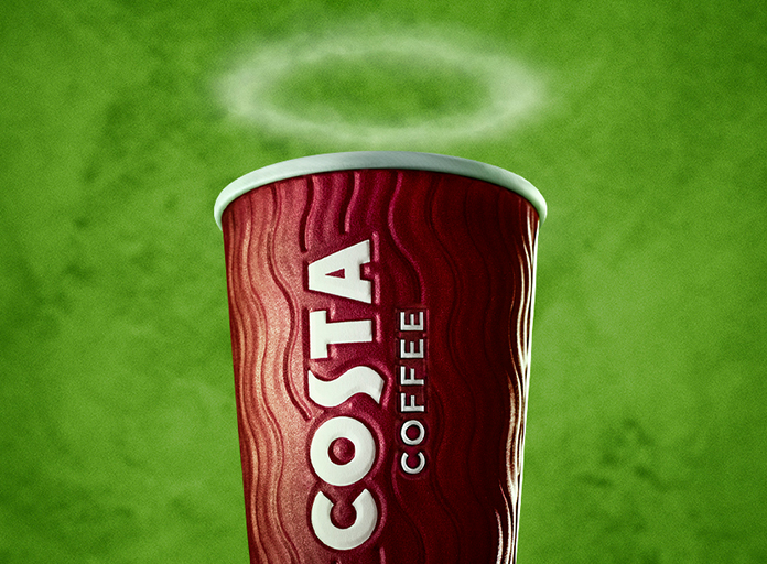 Costa Coffee take away cup with a halo of steam
