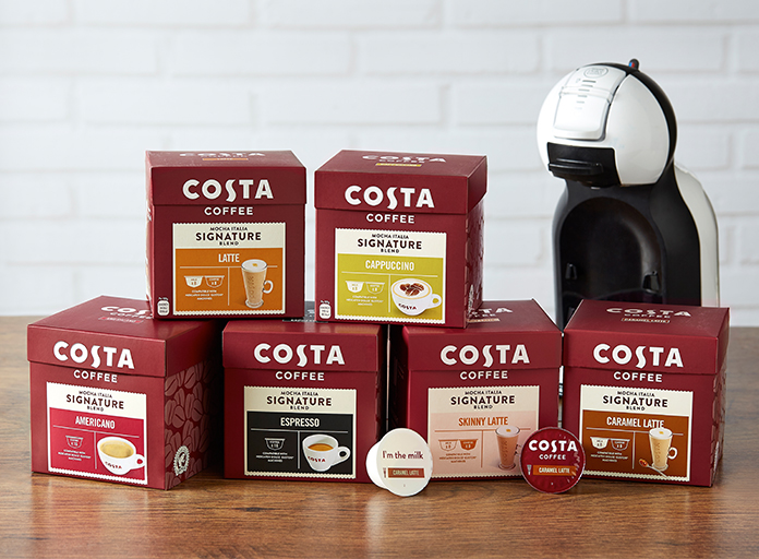 Range of Costa Coffee Dolce Gusto Pods