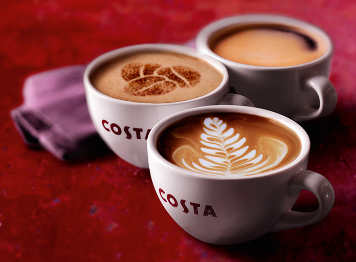 A trio of Costa Coffee coffees, the flat white, cappuccino and black americano