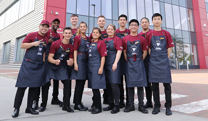 Group shot of 2019 Barista of the Year finalists outside the Costa Coffee roastery in Basildon