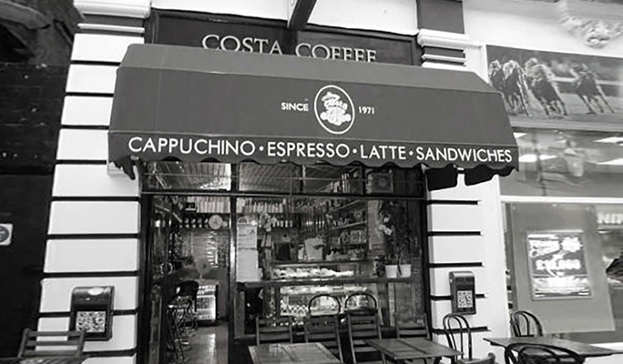 Exterior view of the first Costa Coffee store