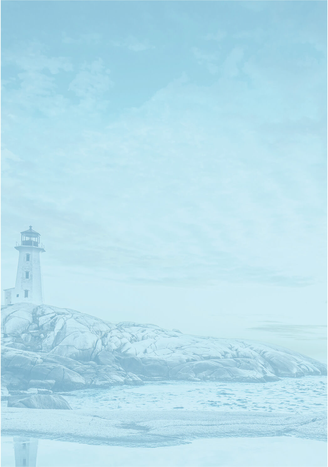 Calming Lighthouse and Sea Landscape with Blue Overlay.