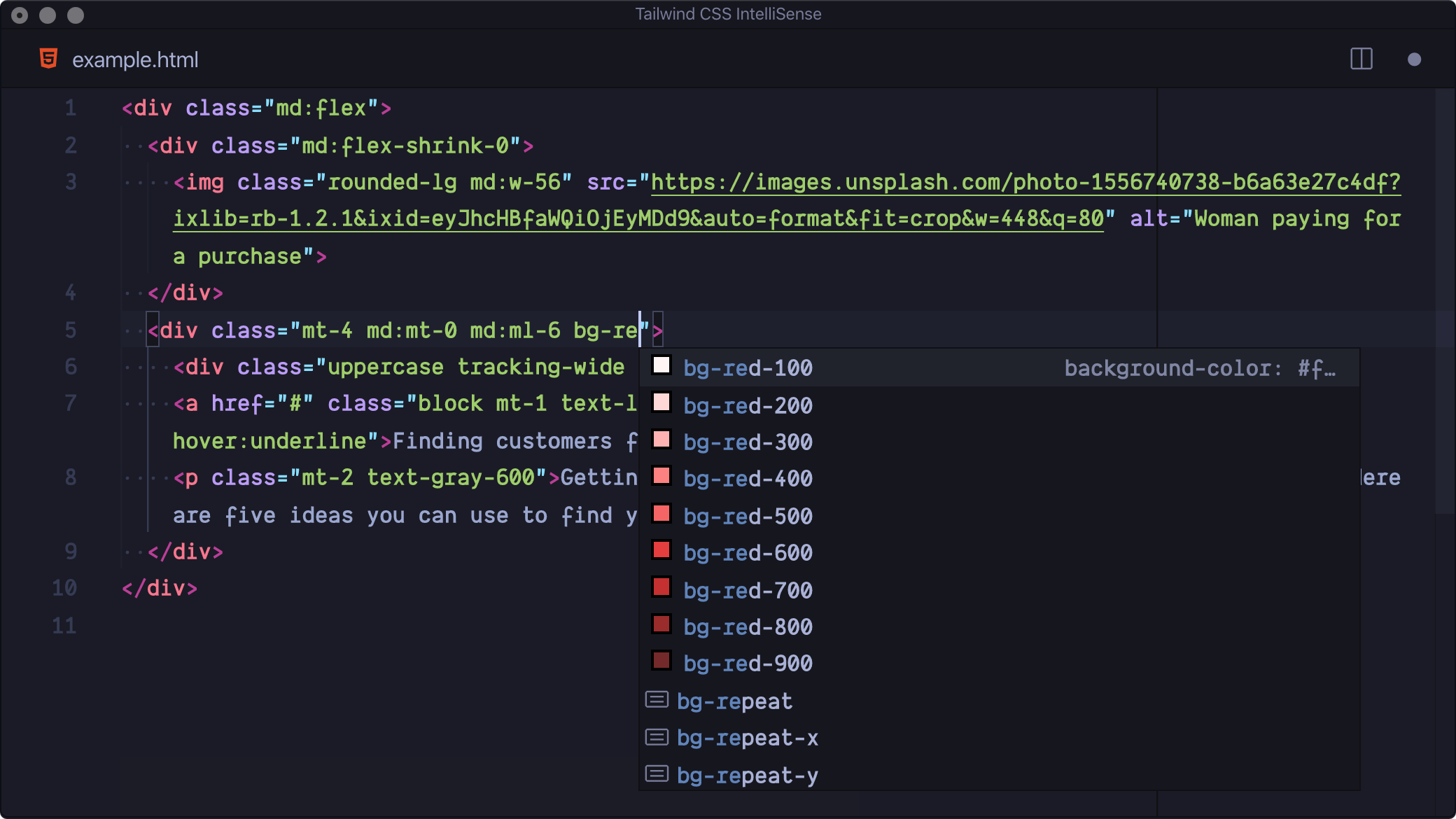 Autocomplete of Tailwind CSS Intellisense