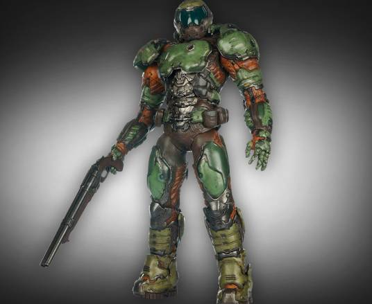 Action figure del DOOM Marine prodotta da ThreeA