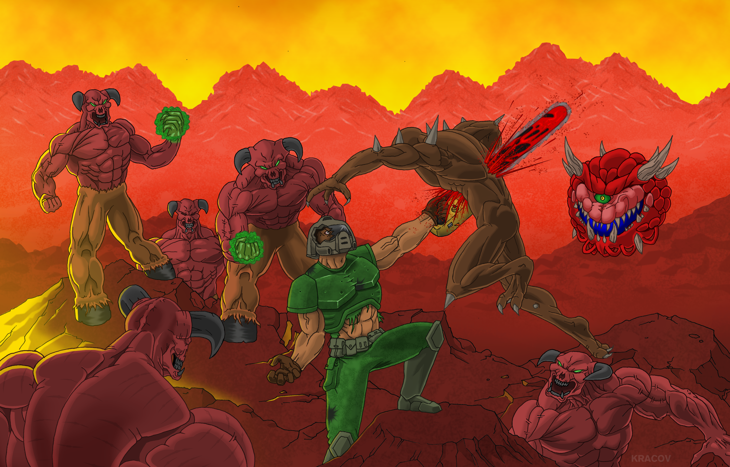 Fan Art Wall Slayers Club Doom Eternal Bethesda Net