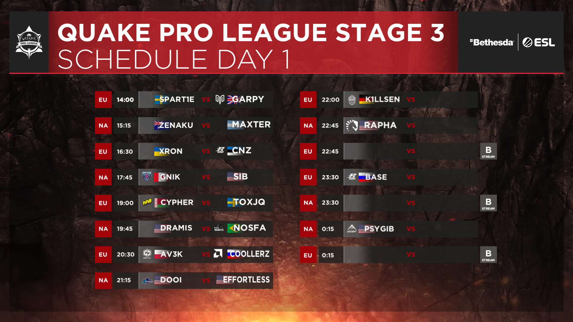 QPL - Stage 3 Finals - Day 1 Schedule