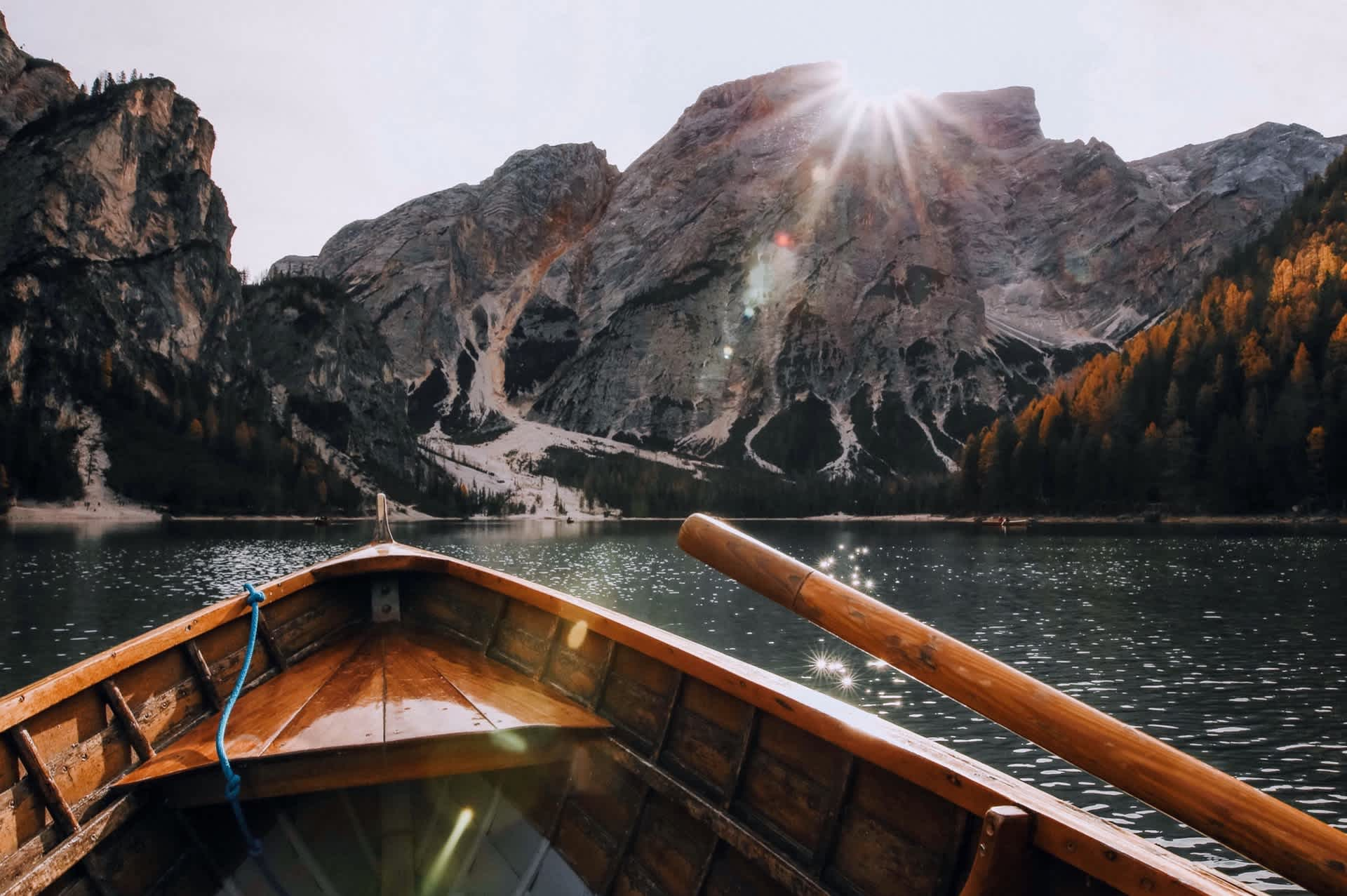 Scenic mountains and rowboat