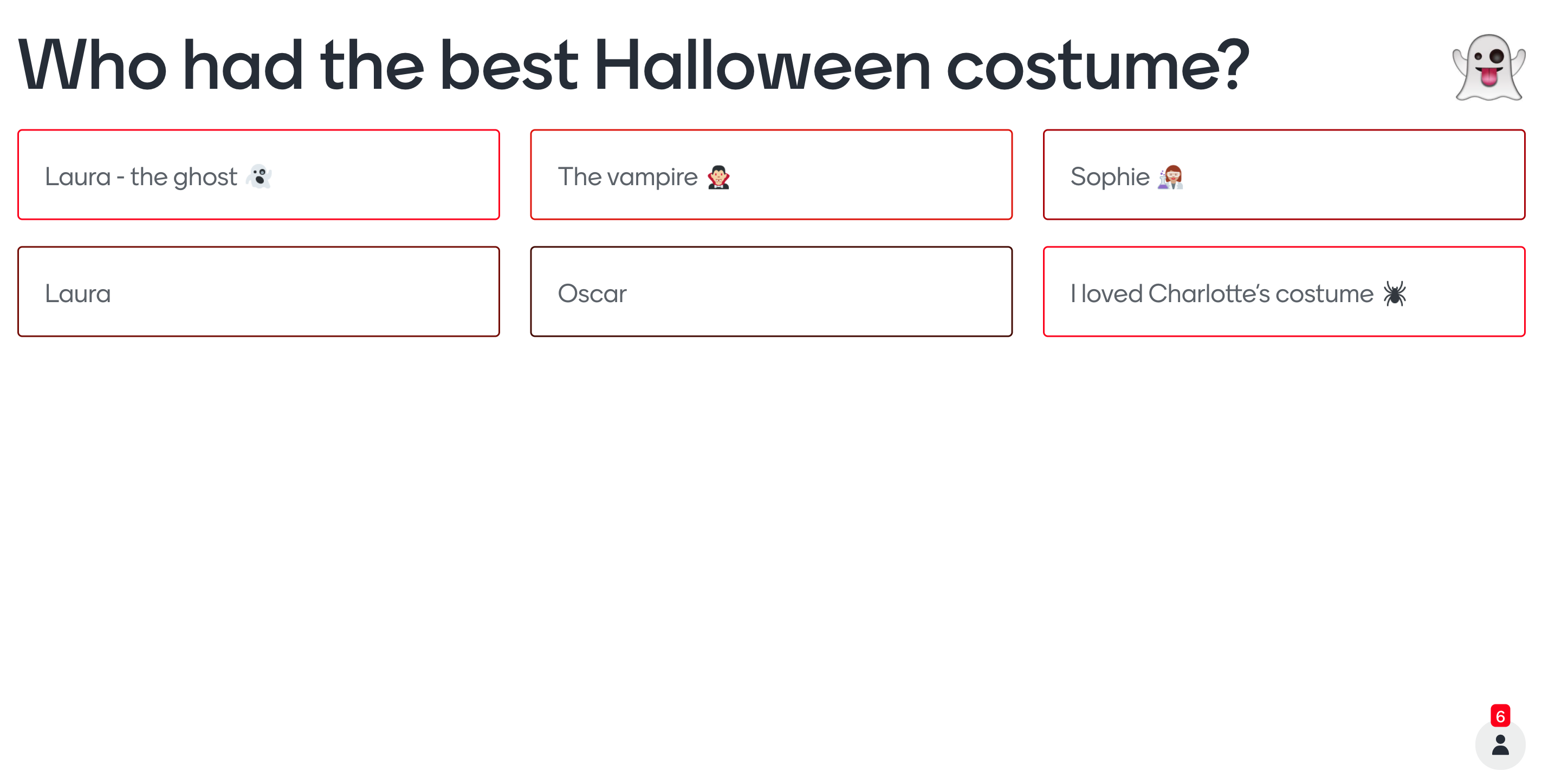 Halloween open-ended question type
