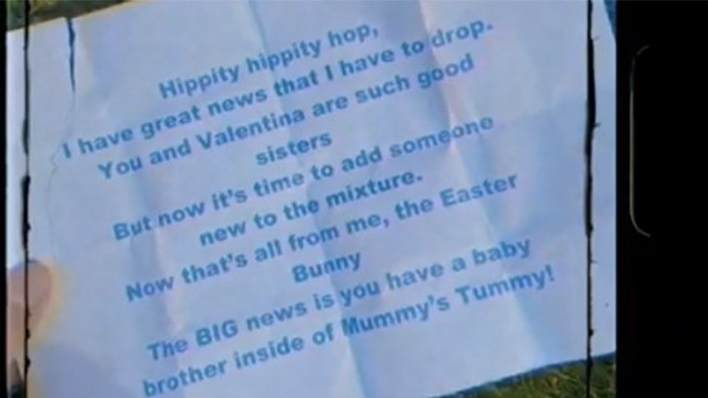 Rochelle's gender release message from the Easter Bunny