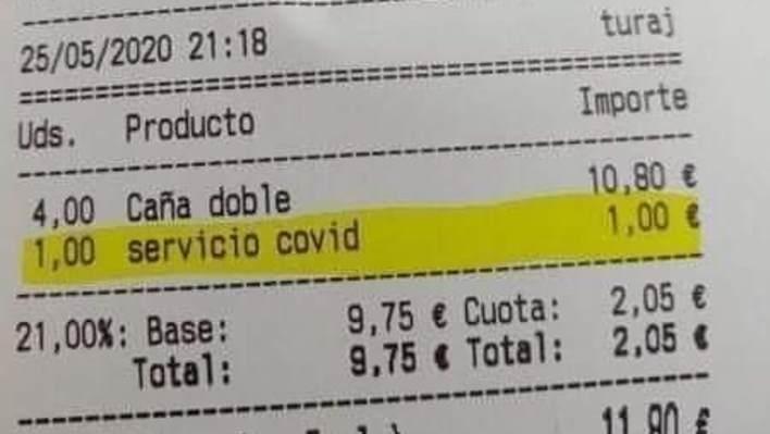 Photo of Spanish bar bill from Twitter user Rui Meireles