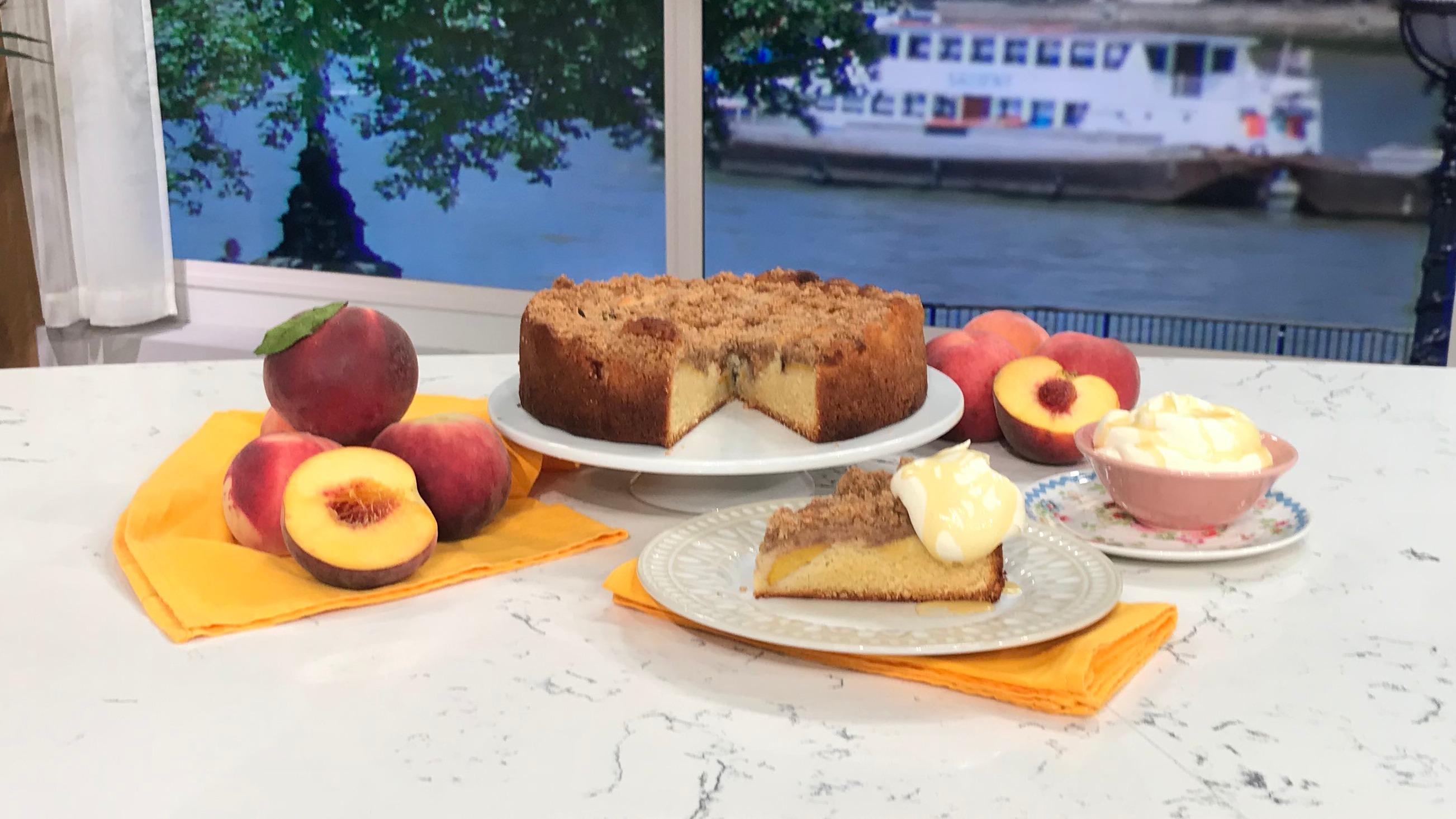 James Martin's peach crumble cake with honey cream