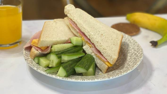 The Batch Lady's ham and cheese sandwiches