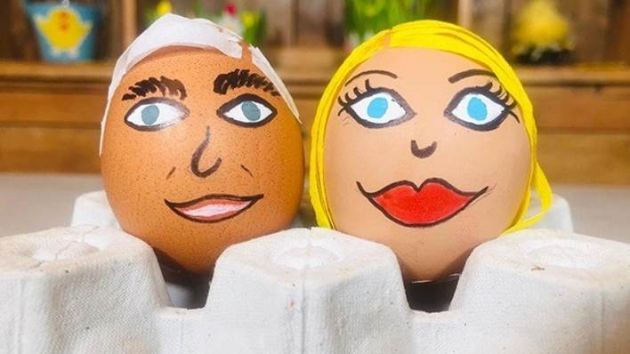 Eggs painted as Phillip and Holly