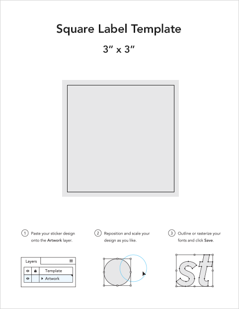 Square roll label templates