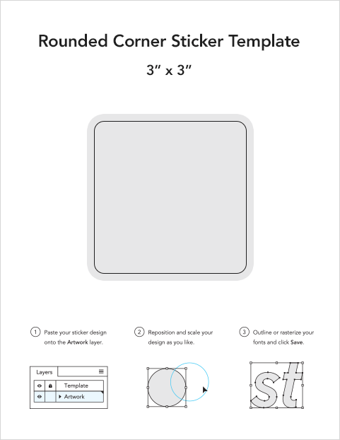 Rounded corner sticker templates