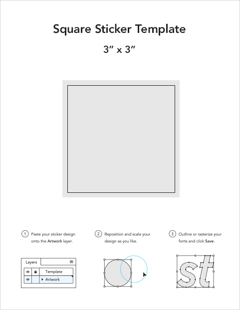 Square sticker templates