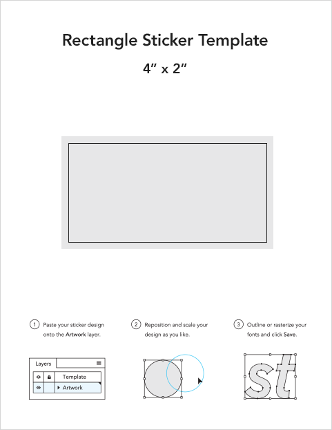 Rectangle sticker templates