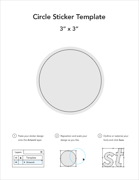 graphic regarding 2 Inch Circle Template Printable titled Circle sticker templates Sticker Mule