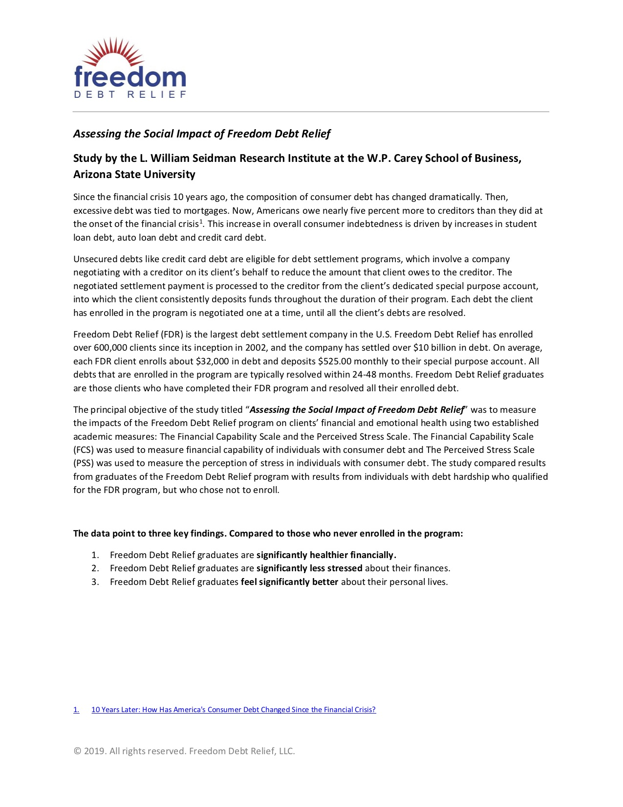 Executive Summary – Assessing the Social Impact of Freedom Debt Relief