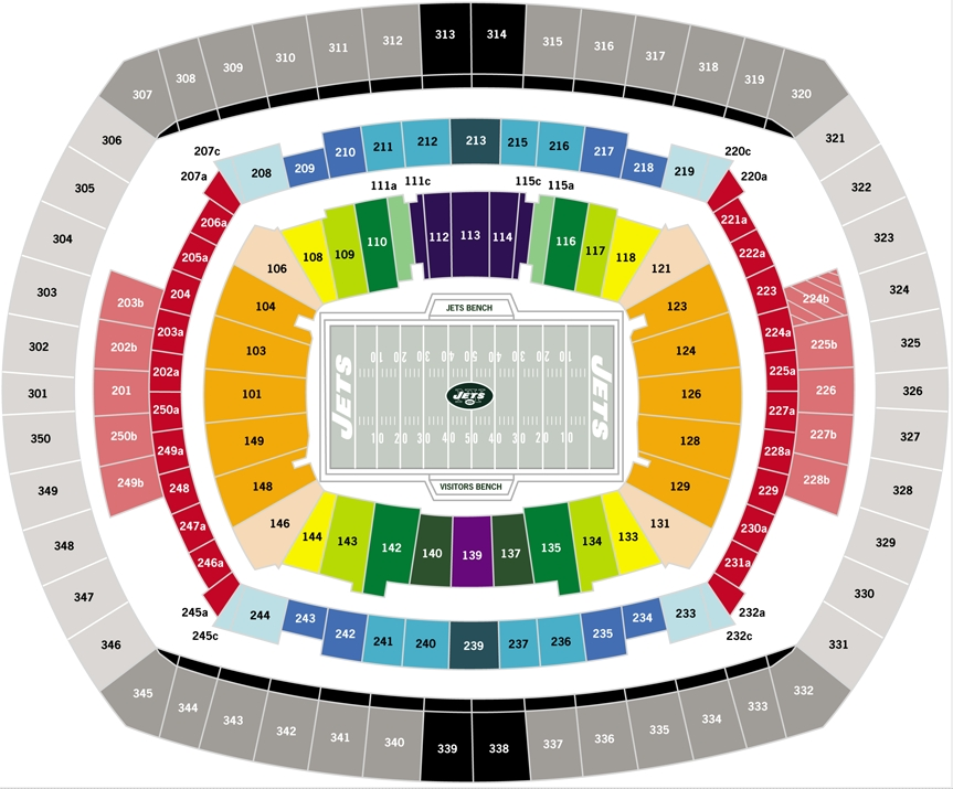 New york jets seating chart at metlife stadium