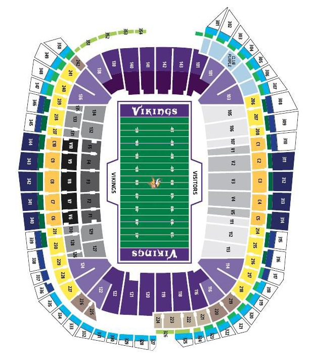 Us Bank Stadium Seating Map Minnesota Vikings Seating Chart Map at US Bank Stadium