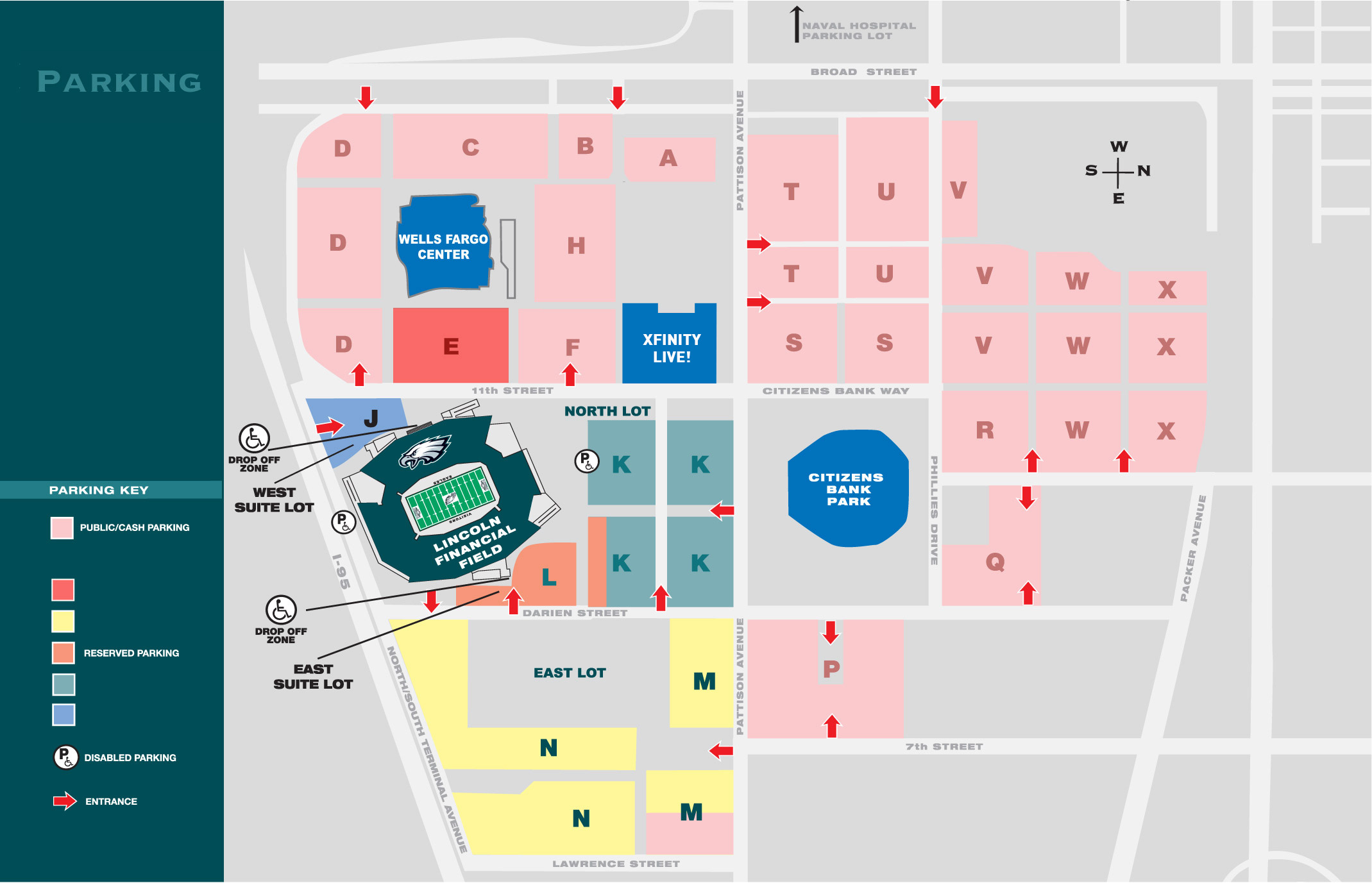 Philadelphia Eagles Parking Lots Map at Lincoln Financial Field