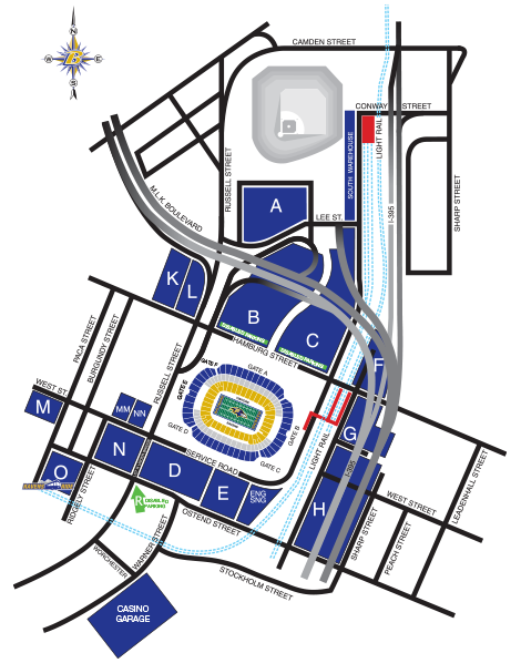 Baltimore Ravens Parking Lots at M& T Bank Stadium