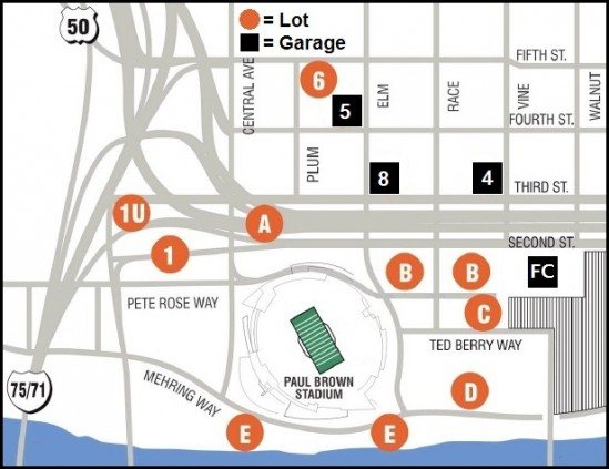 Cincinnati Bengals Parking Map