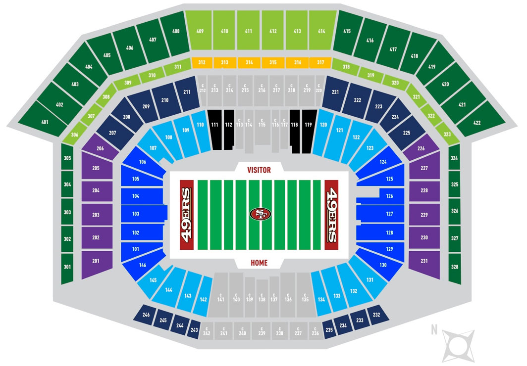 San Francisco 49ers Seating Chart Map At Levi S Stadium