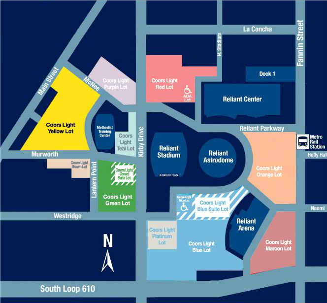 Houston Texans Parking Lots Map at NRG Stadium