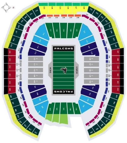Atlanta falcons seating chart at mercedes benz stadium for Mercedes benz stadium calendar