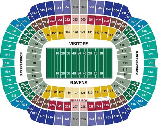 Baltimore ravens seating chart at m and t bank stadium