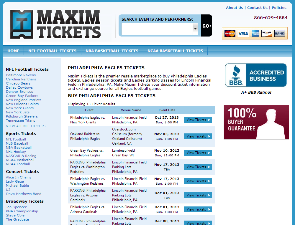 Buy Philadelphia Eagles Parking at Lincoln Financial Field from MaximTickets.com