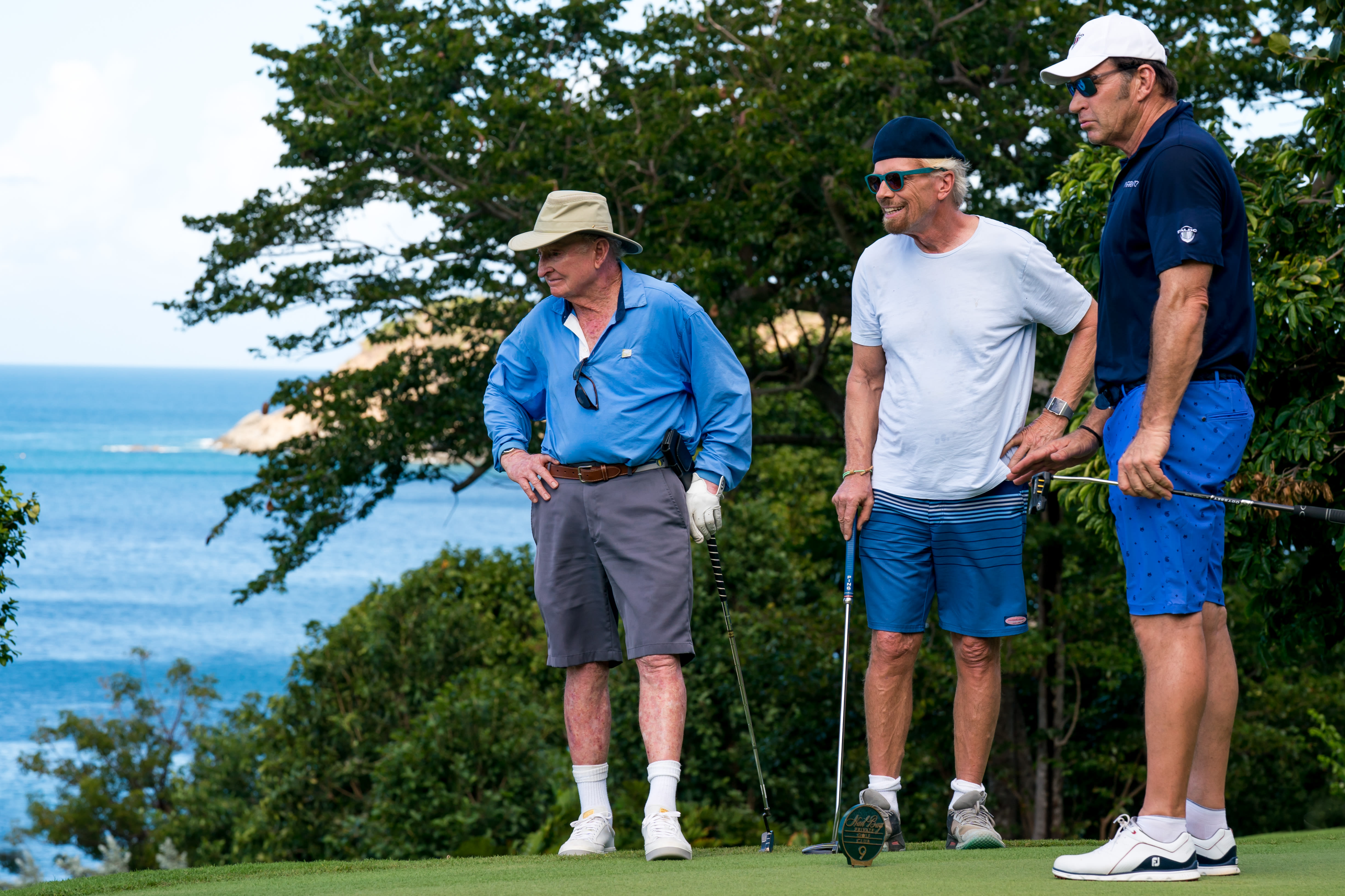 Richard Branson with Rod Laver and Nick Faldo