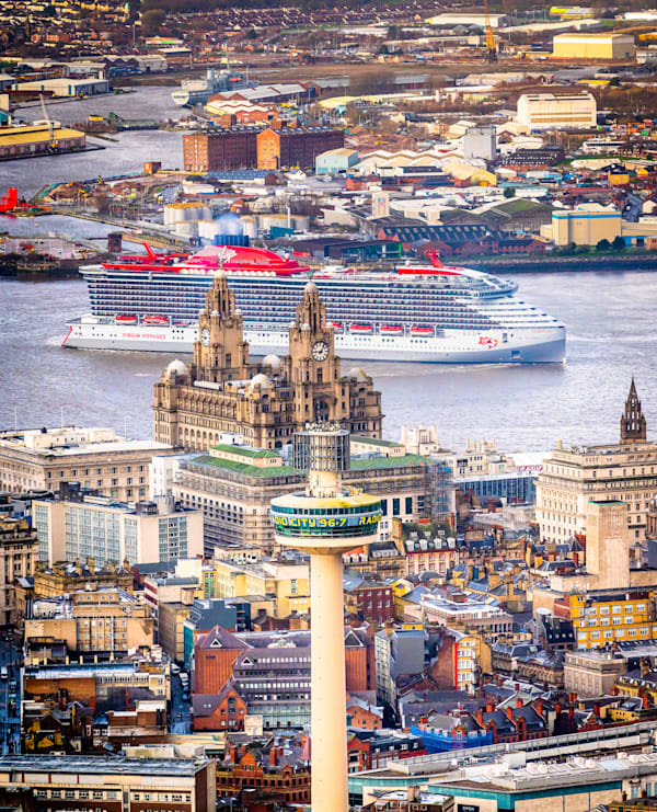 Aerial shot of the Scarlet Lady in Liverpool