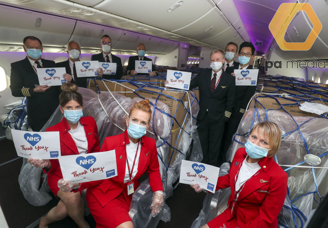 Virgin Atlantic crew on the cargo flight bringing PPE into the UK
