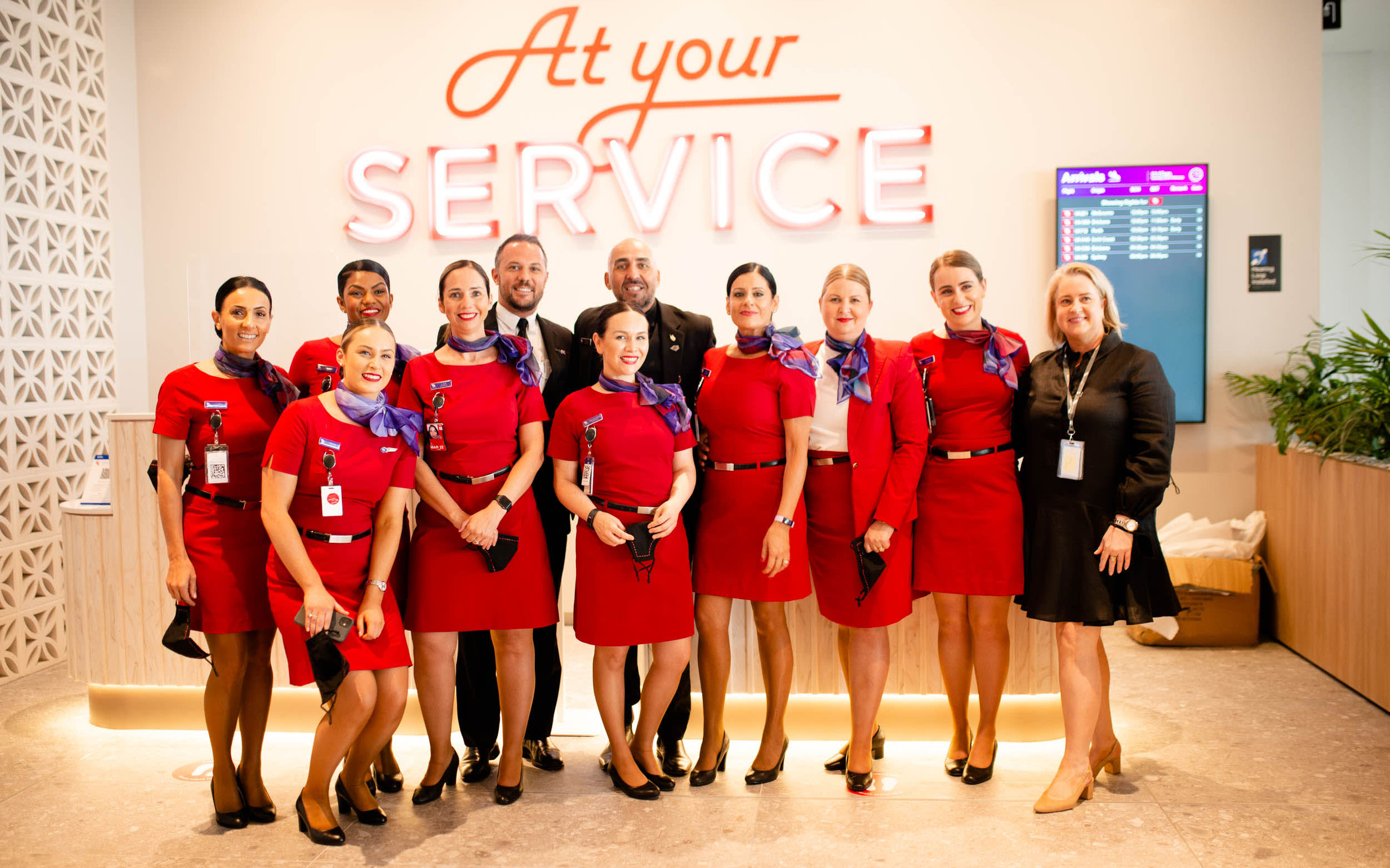 Virgin Australia crew at the opening of the Adelaide Lounge