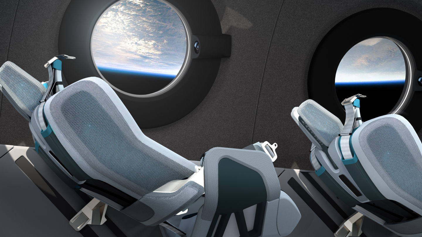 Image of the Virgin Galactic spaceship interior cabin seats