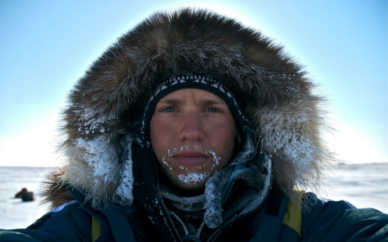 Close up of Sam Branson in Arctic gear.