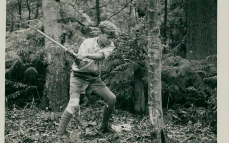 Richard Branson as a young boy chopping down a tree