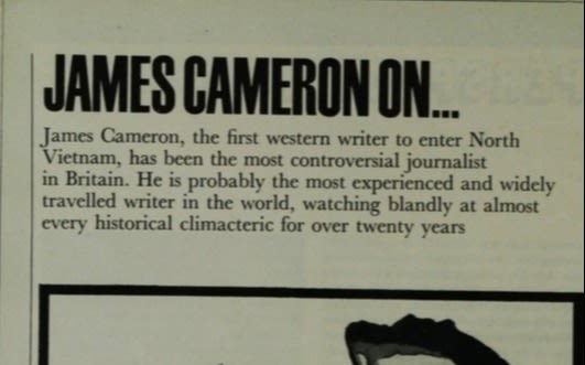 Snippet from newspaper of James Cameron and a brief description of him