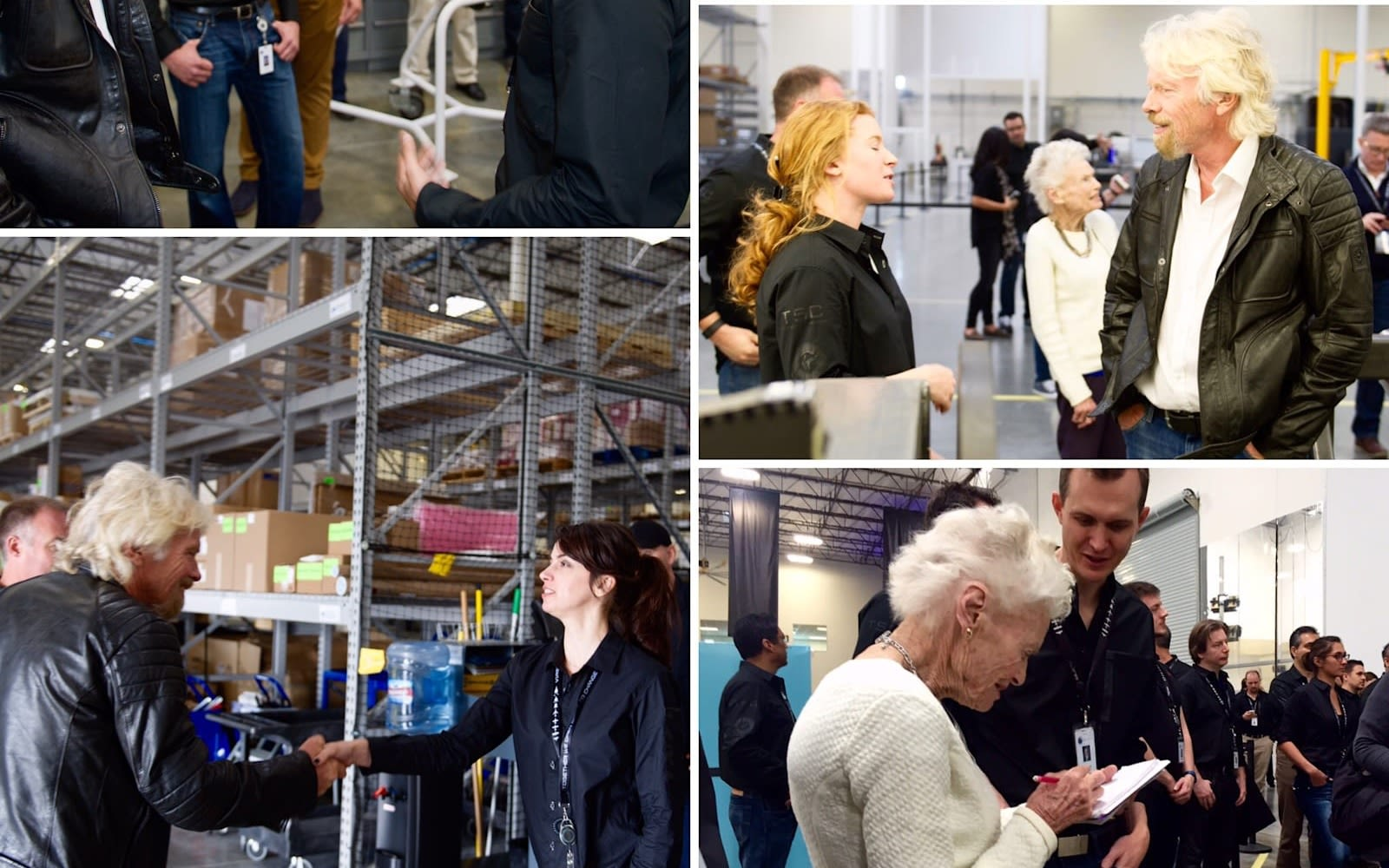 Selection of images of Richard and Eve Branson meeting the Virgin Orbit team