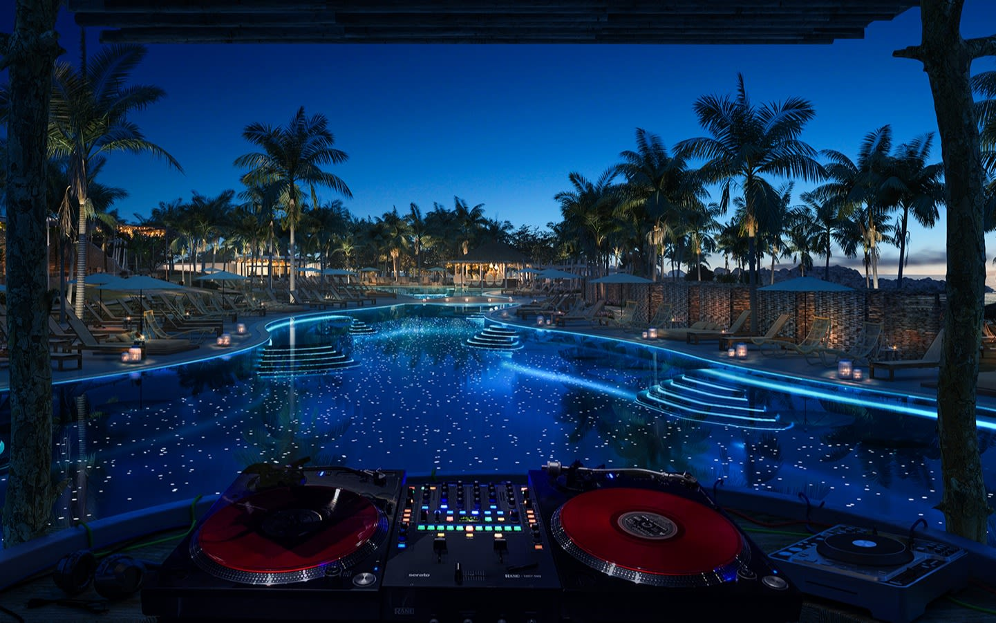 A view looking out to the pool area from the DJ booth at the Beach Club Bimini