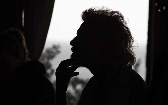Silhouette of Richard Branson in a pensive state