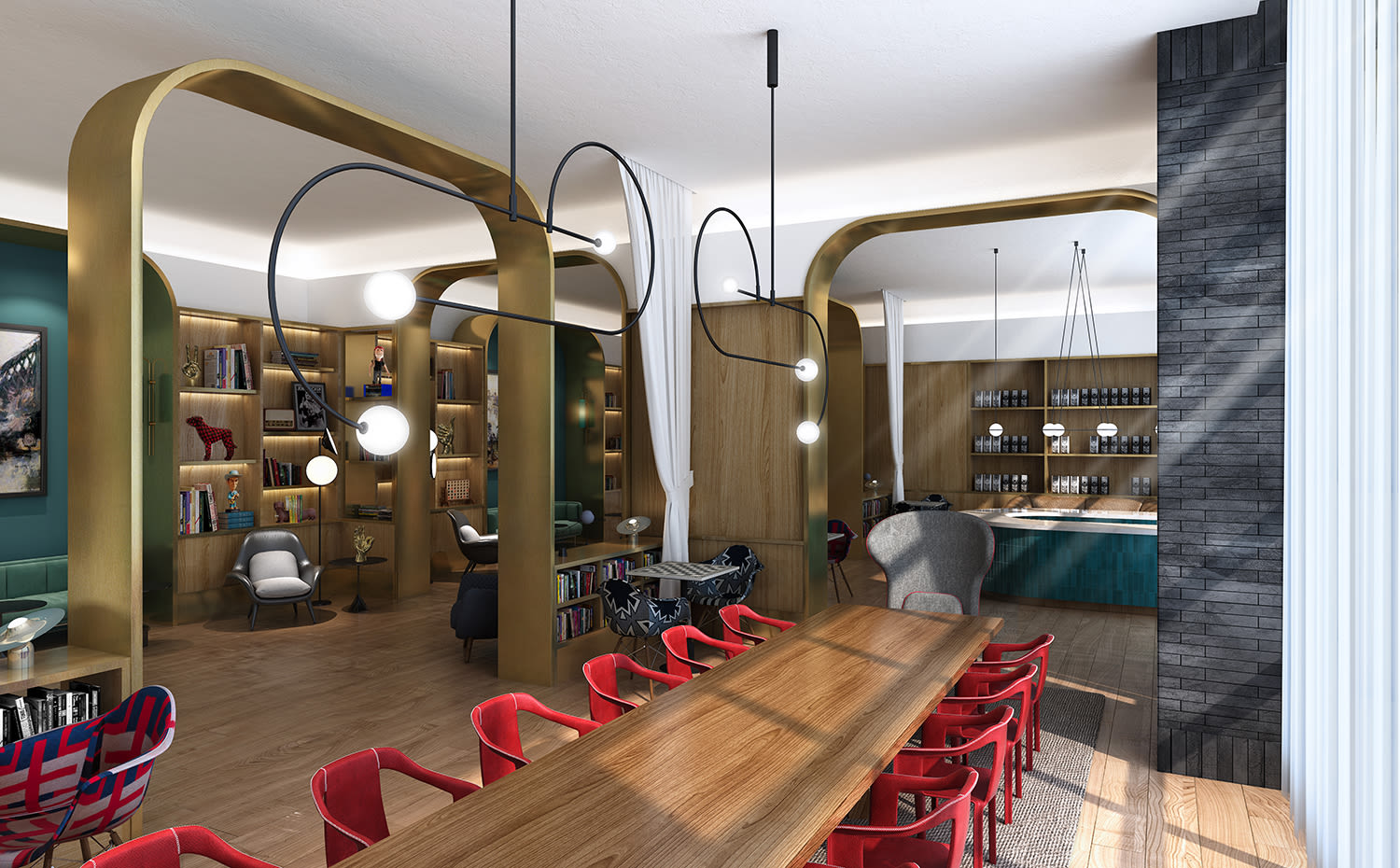 Render of the Funny Library Coffee Shop at Virgin Hotels Nashville
