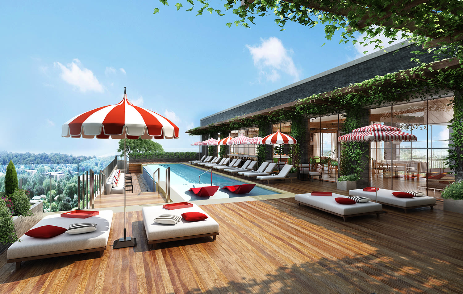 Render of the Pool Club at Virgin Hotels Nashville
