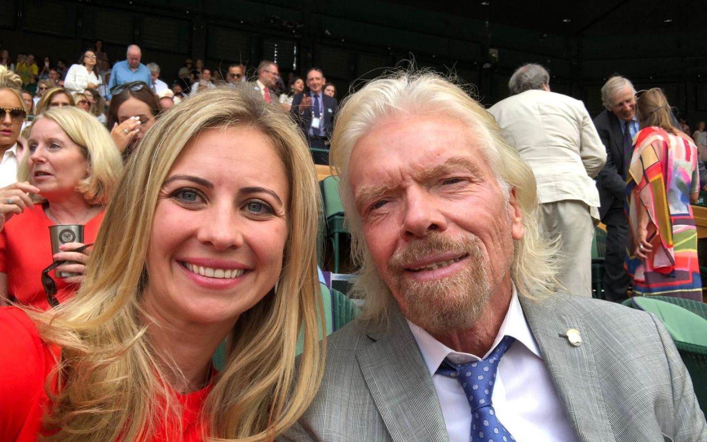 Holly Branson and Richard Branson at Wimbledon 2019