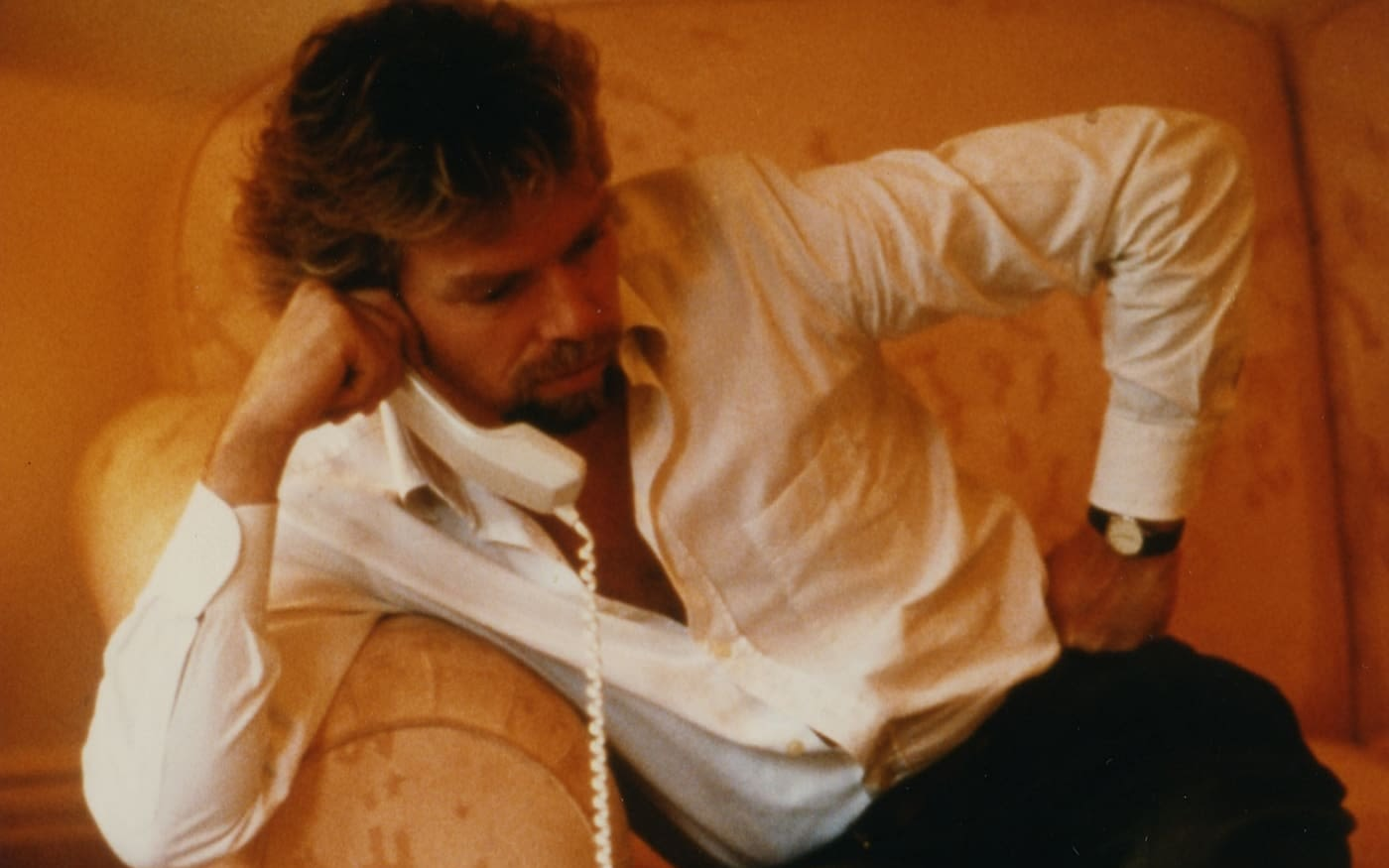 Young Richard Branson on the phone